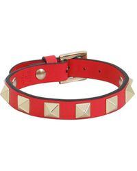 Valentino Garavani Rokcstud Leather Bracelet - Red