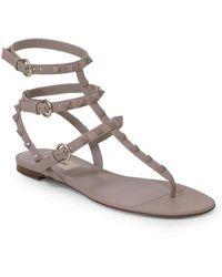 Valentino Rockstud Three Strap Thong Sandal Poudre - Multicolour