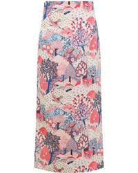Vilshenko Chrissi Forest Print Midi Skirt Cream - Multicolour