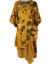 Mother Of Pearl Izzy Pleated Kimono Dress Golden Peony - Multicolour