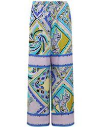 Emilio Pucci Aztec Print Wide Leg Pant Turquoise - Blue