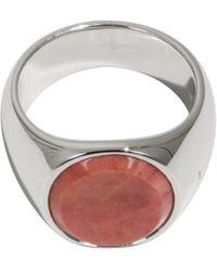 Tom Wood - Pink Rhodonite Oval Ring Silver - Lyst