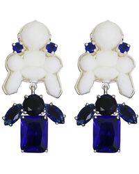 EK Thongprasert | Stepney Drop Earrings White/dark Blue Crystals | Lyst