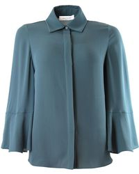 Valentino | Silk Shirt With Flared Sleeves Deep Ardesia | Lyst