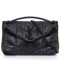 Saint Laurent - Loulou Small Puffer Bag Matte Black - Lyst