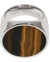 Tom Wood Flush Tiger Eye Circle Ring Silver - Metallic