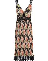 Paco Rabanne Floral Pleated Dress - Black