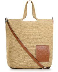 Loewe Large Raffia Satchel Bag Natural