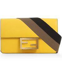 Fendi Mini Baguette Bag With Canvas Strap Yellow