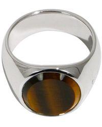 Tom Wood Tiger Eye Oval Ring Silver - Metallic