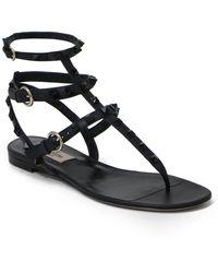 Valentino Rockstud Three Strap Thong Sandal Black