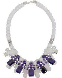 EK Thongprasert | Silicone Five Jewel & Metal Neckpiece White/amethyst Crystals | Lyst