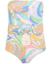 Emilio Pucci - Acapulco Strapless Swimsuit Yellow/rose - Lyst