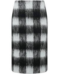 Maison Margiela Hairy Check Skirt Grey/black