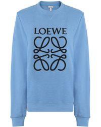 Loewe - L/s Logo Sweatshirt Light Blue - Lyst