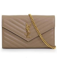 Saint Laurent - Monogramme Quilted Chain Wallet Light Taupe gold - Lyst 288e7e0443679