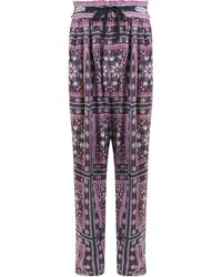 Isabel Marant Everson Relaxed Pant With Paisley Print Raspberry - Multicolour