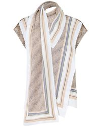 Proenza Schouler - Scarf Print Blouse S/less Peach/white - Lyst
