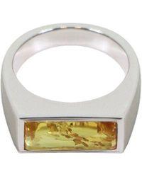 Tom Wood Peaky Ring Orange Amber Silver - Metallic