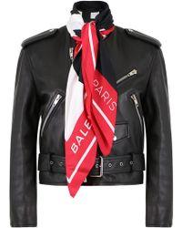 Balenciaga - Scarf Biker Jacket Black - Lyst