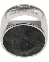 Tom Wood Flush Larvikite Circle Ring Silver - Metallic