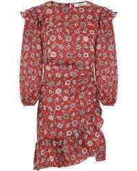 Isabel Marant - Etoile L/s Telicia Wrap Dress Rust Print - Lyst