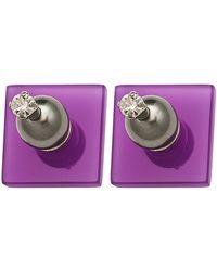 Sylvio Giardina - Perspex Small Square Stud Earrings Purple - Lyst