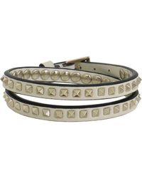 Valentino - Mini Rockstud Double Wrap Leather Cuff Ivory - Lyst