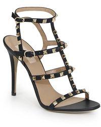 Valentino Rockstud 105 Studded Leather Sandals - Black