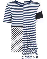 Loewe Asymmetric Stripe T-shirt With Fringe S/s Navy/white - Blue