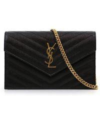 Saint Laurent - Monogramme Envelope Quilted Chain Wallet Black/gold - Lyst