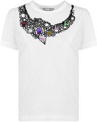 Comme des Garçons Jewel Embroidered T-shirt White/multi
