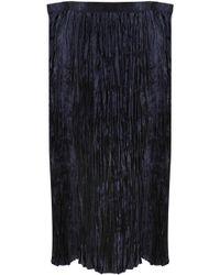 Junya Watanabe - Pleated Satin Midi Skirt Navy - Lyst