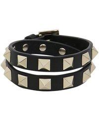 Valentino - Rockstud Wrap Leather Cuff Black - Lyst
