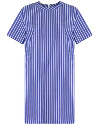 Sacai - S/s Stripe Lace Up Back Shift Dress Navy - Lyst