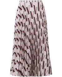 Valentino Pleated Silk Midi Skirt - Pink