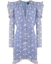 Isabel Marant Etya Floral Print Dress L/s Lavender - Blue