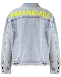 Balenciaga 80's Logo Jacket Bleach Denim - Blue