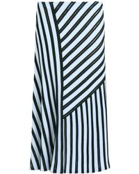 Cedric Charlier Aysmmetric Midi Skirt Blue/black