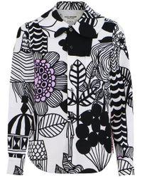 Junya Watanabe - Lintukoto Print Shirt White/black - Lyst