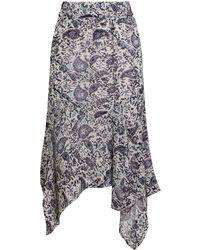 Étoile Isabel Marant Etoile Eda Printed Midi Skirt Chalk - Multicolour