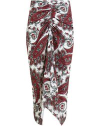 Isabel Marant - Tracy Skirt Paisley Techno Print White/red - Lyst