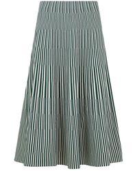 Cedric Charlier Stripe Knit Skirt Cream/green