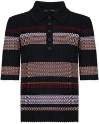 Proenza Schouler Zig Zag Polo Knit Top S/s Black