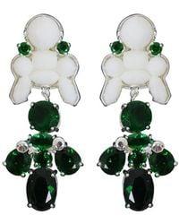 EK Thongprasert | Silicone Drop Earrings White/green Crystals | Lyst