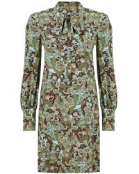 Chloé Butterfly Garden Print Tie Neck Dress Brown/green