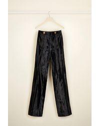 Patou Wide legged Faux Ponyskin Trousers - Black