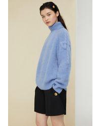 Patou Maglione a collo alto in mohair e lana - Blu