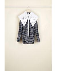 Patou 刺繍入りカラー コットン&ウールブレンド シャツ - ブルー