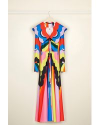 Patou Psychedelic oversized collar maxi dress - Azul